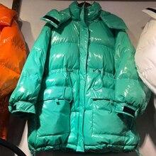 Winter Women Glossy Long Down Jacket 2020 Loose Korean Style