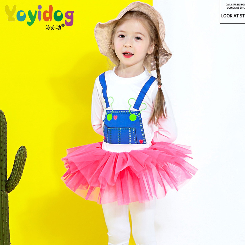 New Style KID'S Swimwear Girls Cute Sweet Suspender Strap Pattern Large Children Baby Spa Resort Split Type Swimwear