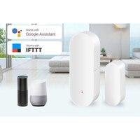 Inteligente porta/janela detector wi fi app tuya alertas de notificação para o apoio do sensor de segurança em casa alexa google casa Automação predial    -