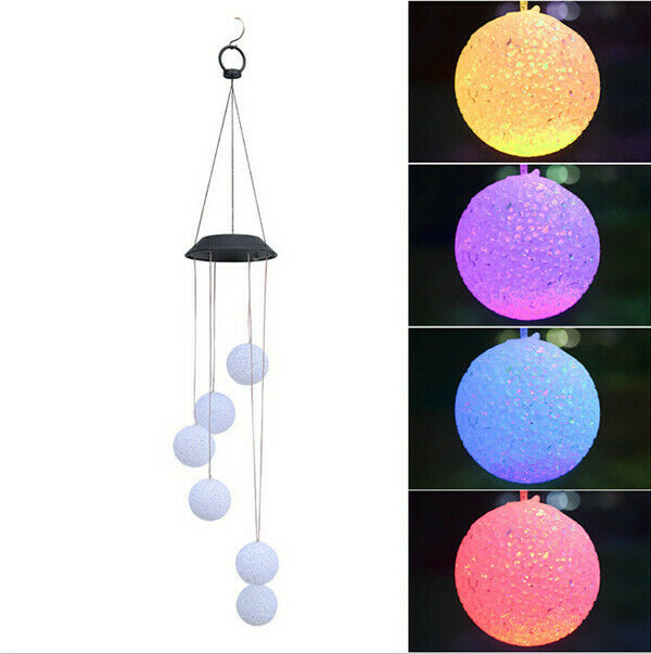 Colour Changing Hanging Wind Chimes Solar Powered LED Ball Light Garden/&Outdoor