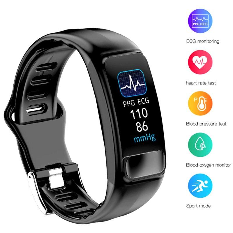 P12 EKG PPG SPO2 smart armband herz rate sauerstoff monitor blutdruck smart gürtel IP67 wasserdichte anruf erinnerung sport Band