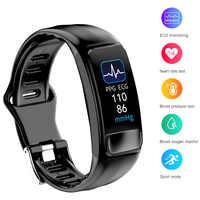 P12 ecg ppg spo2 pulseira inteligente monitor de oxigênio freqüência cardíaca pressão arterial cinto inteligente ip67 à prova dip67 água chamada lembrete esportes banda