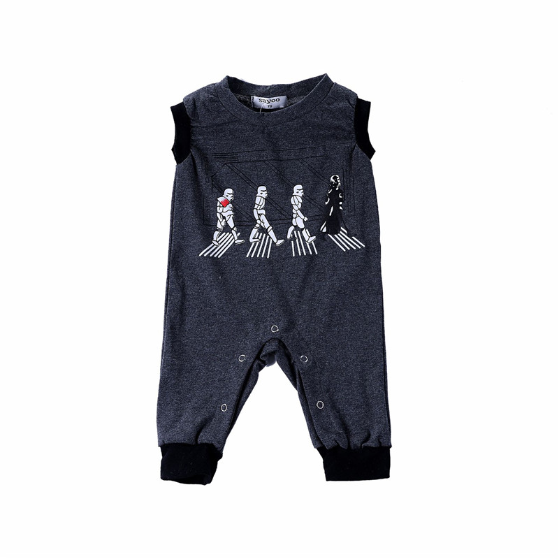 0 24M Newborn Baby Boys Girls Printed Sleeveless Summer Cotton Romper Kid Jumpsuit Dark Grey Playsuit Outfits Clothing Set in Rompers from Mother Kids