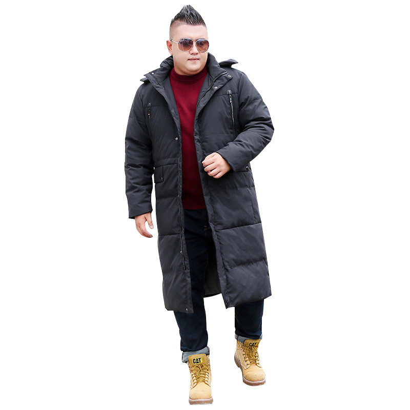 2019 Men's Winter Jacket Fashion Hooded Warm Casual Jacket Men's Long Over Knee Oversized XL-8XL 9XL 10XL Black/Gray Jacket