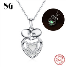 SG sterling silver 925 kissing skeleton glowing pendant chain necklace with CZ diy fashion jewelry making for women gifts