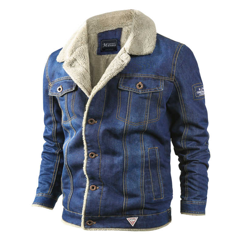 2019 Mens Winter Thick Fleece Denim Jackets Chest Pockets Rodeo Lined Fashion Mens Jeans Jacket Thicken Warm Winter Outwear Male
