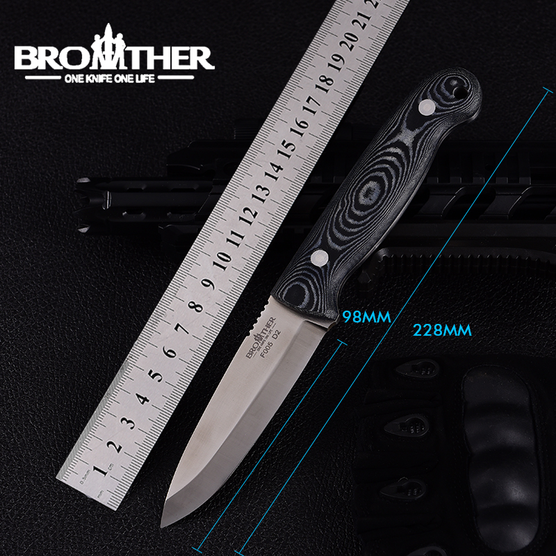 [BROTHER F005] 61HRC D2 blade Fixed Blade knife Bushcraft Knives Straight Tactical Hunting Camping high quality EDC tool(China)