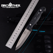 Cuchillo de hoja fija BROTHER F005 61HRC D2, cuchillo Bushcraft, recto, táctico, caza, Camping, herramienta EDC de alta calidad