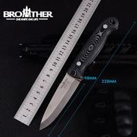 [IRMÃO F005] 61HRC D2 lâmina Fixa Lâmina de faca Bushcraft Facas Retas Tático Caça Camping EDC ferramenta de alta qualidade|Facas|Ferramenta -