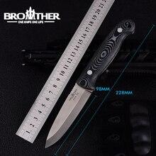[Irmão f005] 61hrc d2 lâmina lâmina fixa faca bushcraft facas de caça tático em linha reta acampamento alta qualidade edc ferramenta