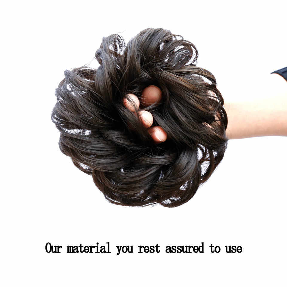 AOSIWIG, moño sintético con banda de goma, Marrón Rubio, mujeres rizadas, moño, Clip de pelo en pieza, moño con cordón