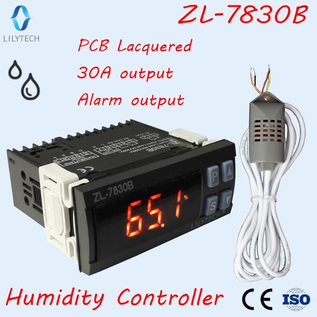 ZL 7830B, 30A Relais, 100 240Vac, Digitale, Vochtigheid Controller, Hygrostaat, Met Alarmerende Output, Lilytech