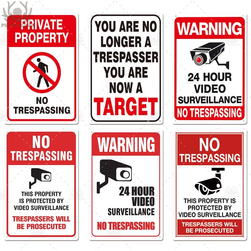 No Trespassing Warning Metal Sign Video Surveillance Wall Decor Yard No Entry