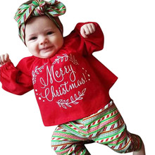 Toddler Girl Clothes Kids Cute Baby Merry Christmas Long Sleeve Tops T-shirt+Pants Outfits 2pcs Set Age 3M-3Y