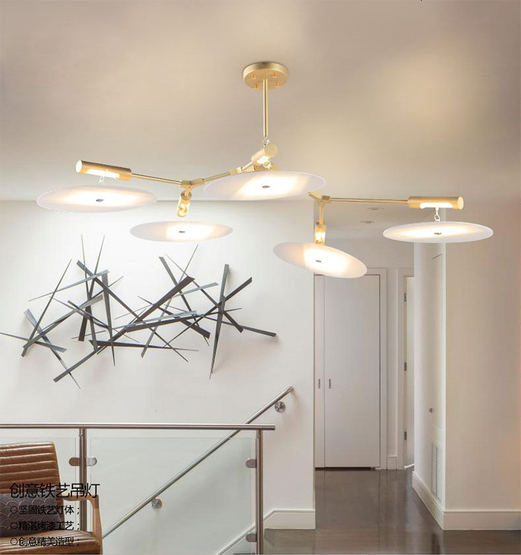 Moderna Ha Portato Lampadari in Metallo Oro Illuminazione Interna per Soggiorno Scandinavo - 3
