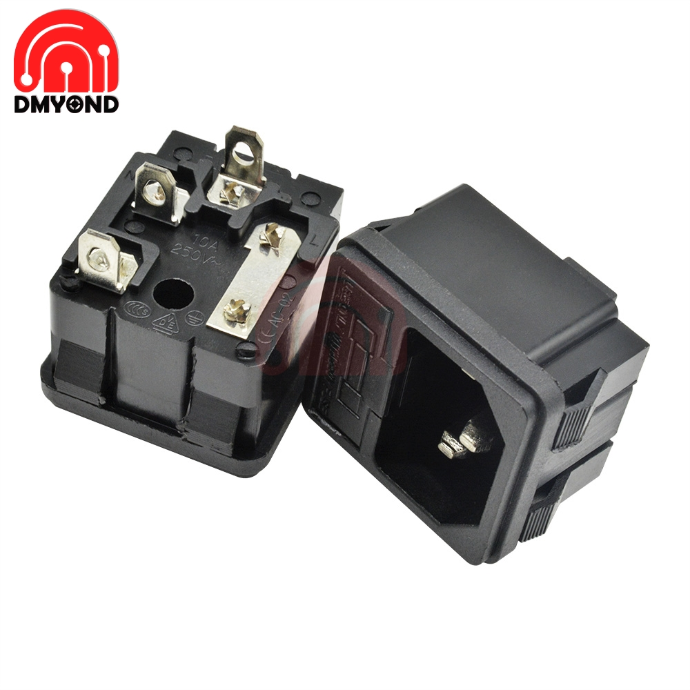 10PCS AC <font><b>250V</b></font> <font><b>10A</b></font> <font><b>3PIN</b></font> 3P 3 Pin Inlet Connector Plug Power Socket Snap Type AC Power Socket with Fuses Interface image