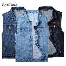 Samlona размера плюс для мужчин джинсовая куртка джинсовый жилет