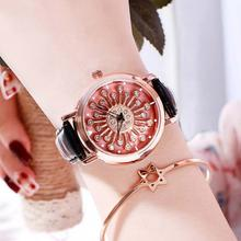 2019 New Fashion Women Wrist Watches Ladies Charming Flower Luxury Rose Gold Buckle Clock Leather For