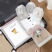 Transparent Cosmetic Bag PVC Animal Women Drawstring Makeup Bags Travel Toiletry Wash Kit Beauty Bath Organizer Storage Pouch