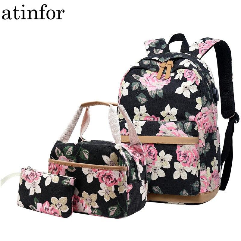 Atinfor ブランド 3 ピース/セット花の学校のバックパック十代の少女ランドセル軽量キャンバスのバックパック旅行 Bookbags セット