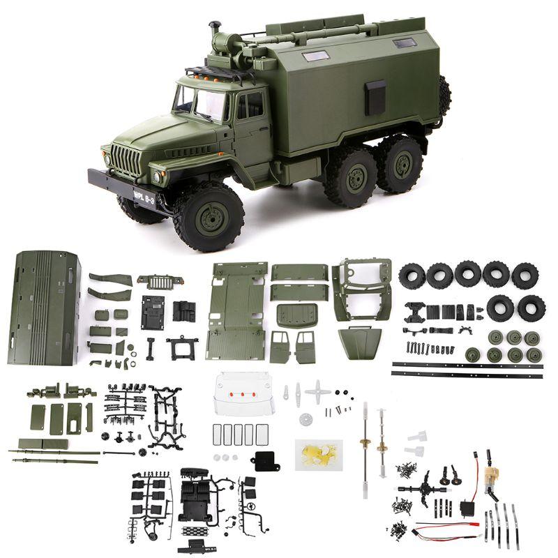 Wpl b36 116 rc carro 2.4g 6wd caminhão militar rock crawler comando comunicação veículo kit diy brinquedos para meninos