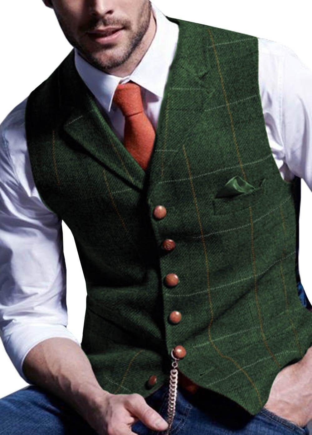 Mens-Suit-Vest-Notched-Plaid-Wool-Herringbone-Tweed-Waistcoat-Casual-Formal-Business-Groomman-For-Wedding-Green