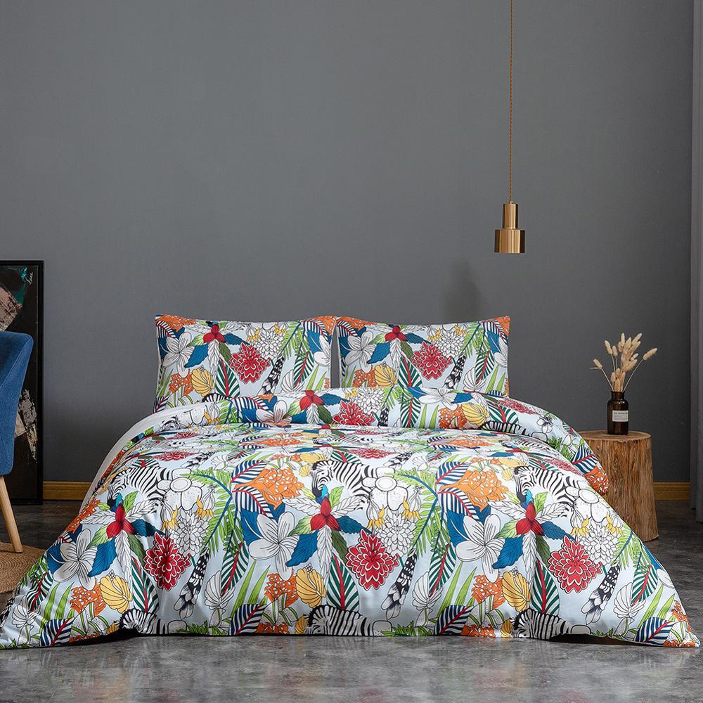 Leaf Bedding Set Kids Women Flowers Duvet Cover Luxury Microfiber Teens Comforter Cover with 2 Pillow