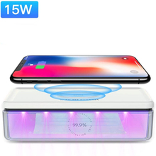 UV Lights Sanitizer Wireless Charger Cell Phone 15W QI Charg