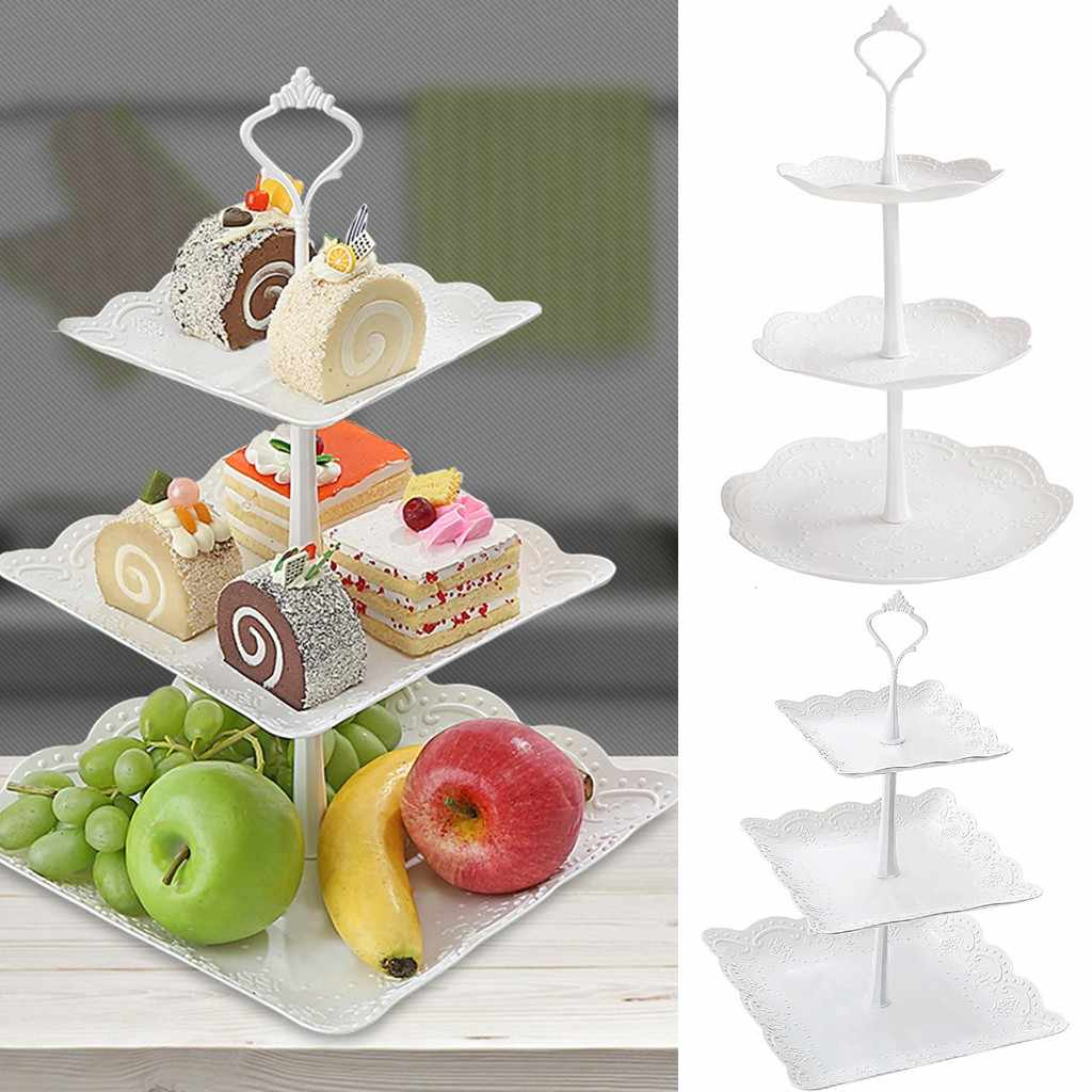 Three-Tier Cupcake Dessert Stand Cake Display Fruits Plates For Wedding Party Afternoon Tea Stand Kitchen Accessories #YL1