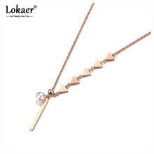 Pendiente de perlas de imitación Lokaer, collar de cinco triángulos de Color rosa dorado, cadena de acero inoxidable para suéter, colgante N18249
