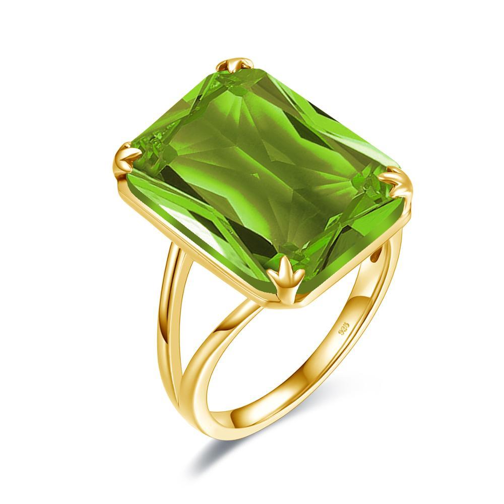 Szjinao 18K or argent anneaux avec péridot pierres brillant de luxe bijoux de mariage anneaux de fiançailles pour les femmes 925 anneau en vente