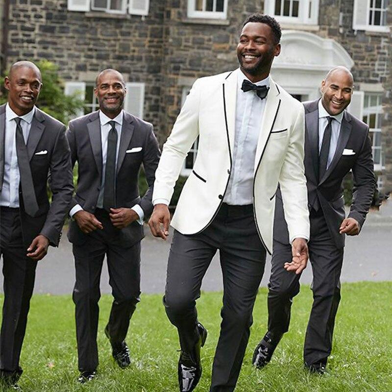 Ivory Groom Tuxedo Suit Men Wedding Black Groommen Outfits 2Piece Trajes De Hombre Costume Homme Blazer Attire Terno Masculino