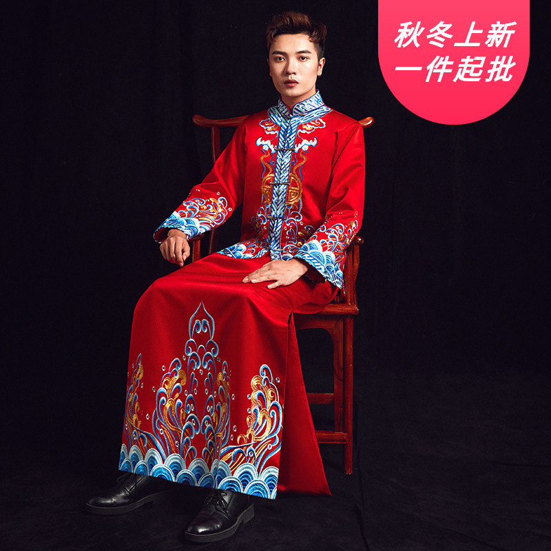 Terno Noivo Colete Gravata Mao Suit 2020 New Wedding Show Hefu Men's Embroidery Happy Dress Bridegroom Toast Chinese Jacket
