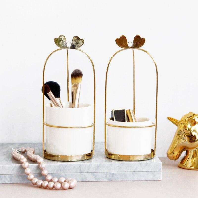 Nordic Gold Iron Ceramic Cup Makeup Organizer Basket Eyeliner Brush Set Storage Cup Dressing Table Makeup Cosmetic Organizer Box