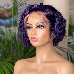 Pixie Cut Wig Purple Short Culry Bob Bleached-Knots Lace Front Human Hair Wigs T Part Colored Lace Front Wig For Women 130 Remy