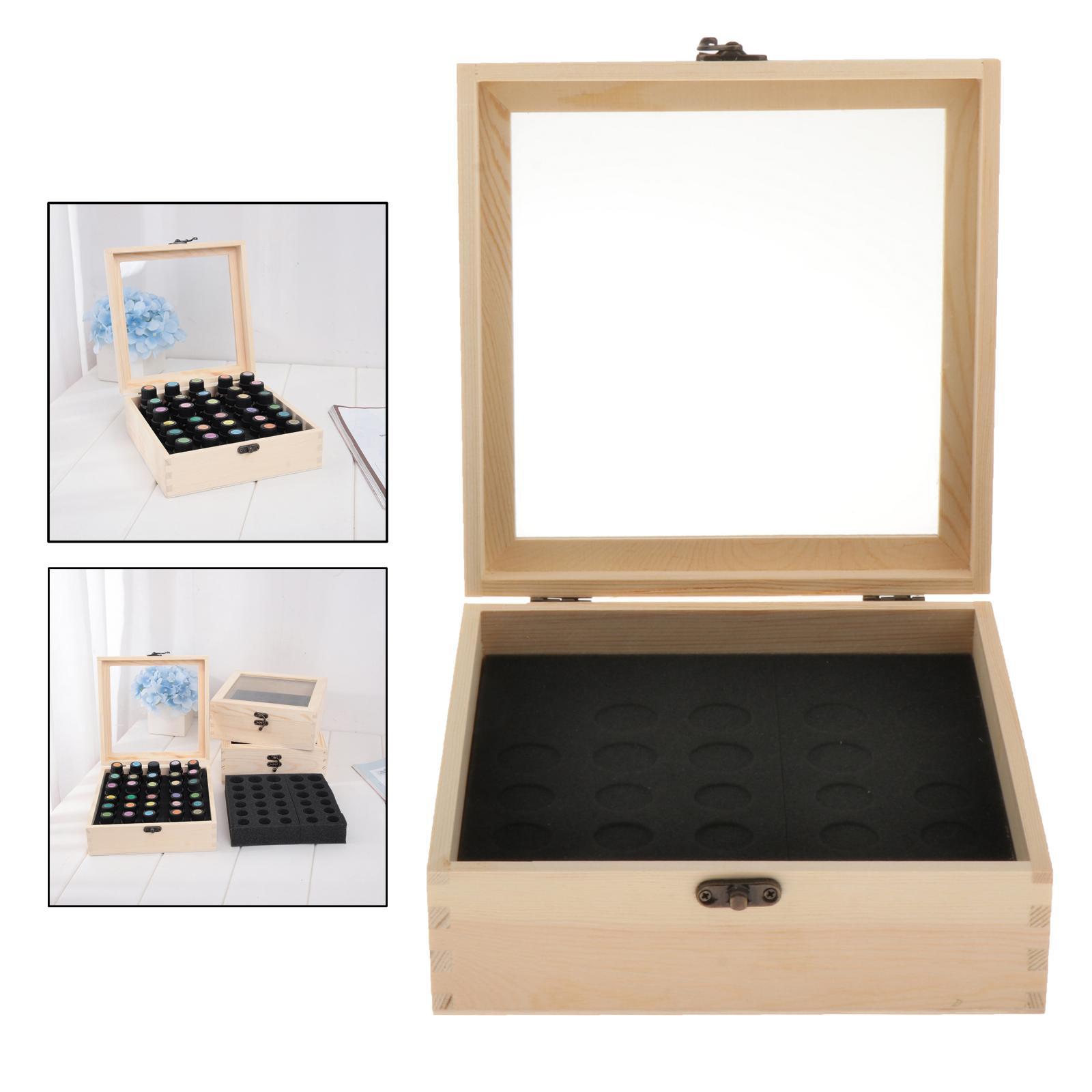 30 slots de madeira garrafas 5-15ml tamanhos de óleo essencial caixa titular aromaterapia recipiente seguro para transportar