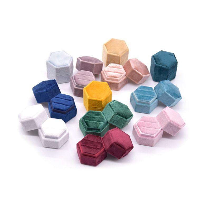 15 Color Velvet Double Ring Box Hexagon Wedding Ceremony Ring Box With Detachable Lid Box