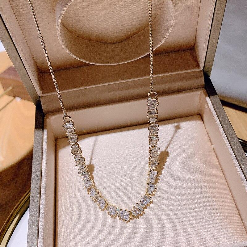CIBOHeavy industry design of light luxury zircon smoked pull necklaces adjustable irregular web celebrity collarbone chain