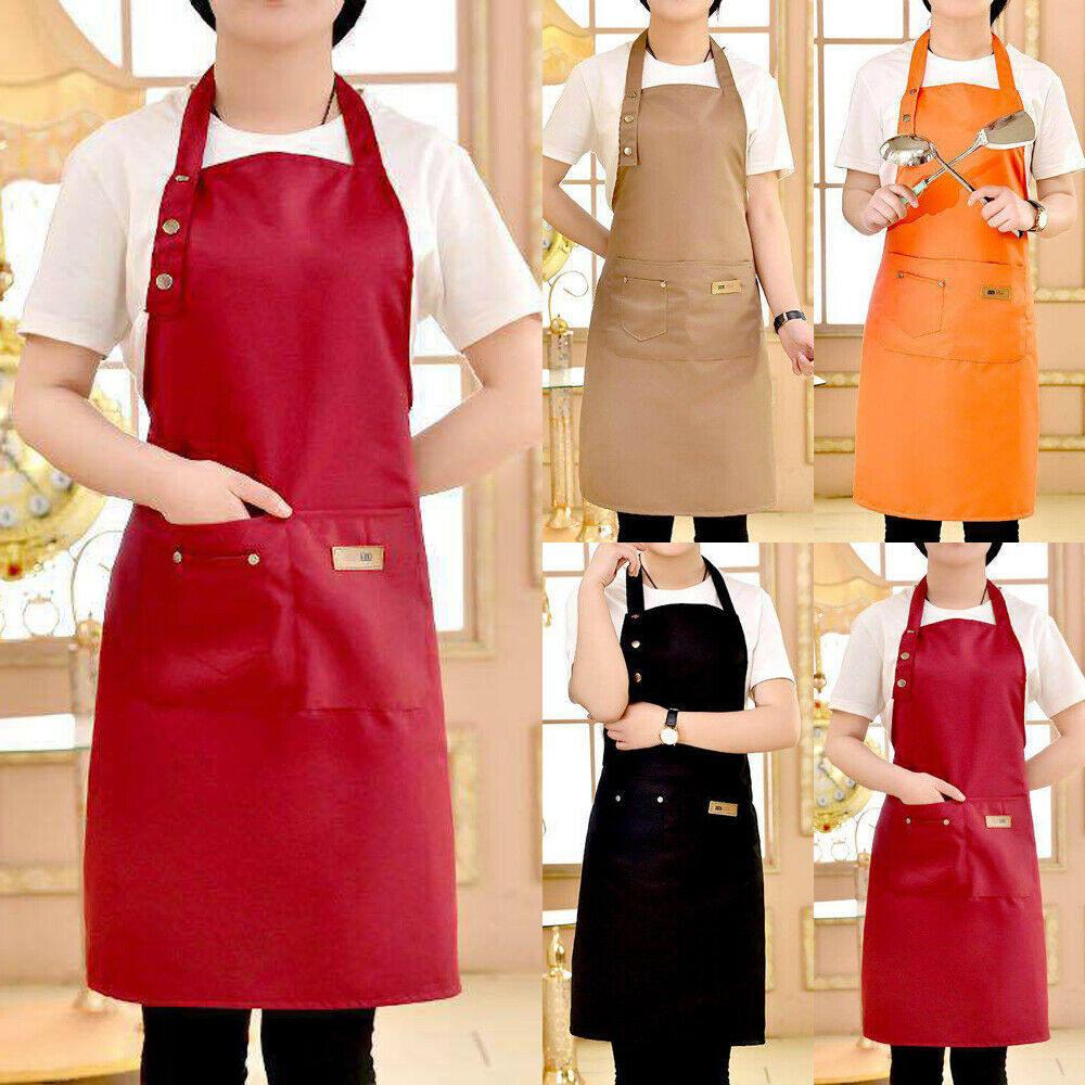 Men Women Adjustable Bib Apron Cooking Kitchen Restaurant Chef Dress With Pocket