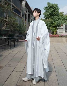 Hanfu Men/Women Chinese Ancient Traditional Hanfu Adult Carnival Cos Costume White&Gray Hanfu Jacket For Couples Plus Size 3XL chinese tradtional costume men s cotton suit jacket coat size m 3xl