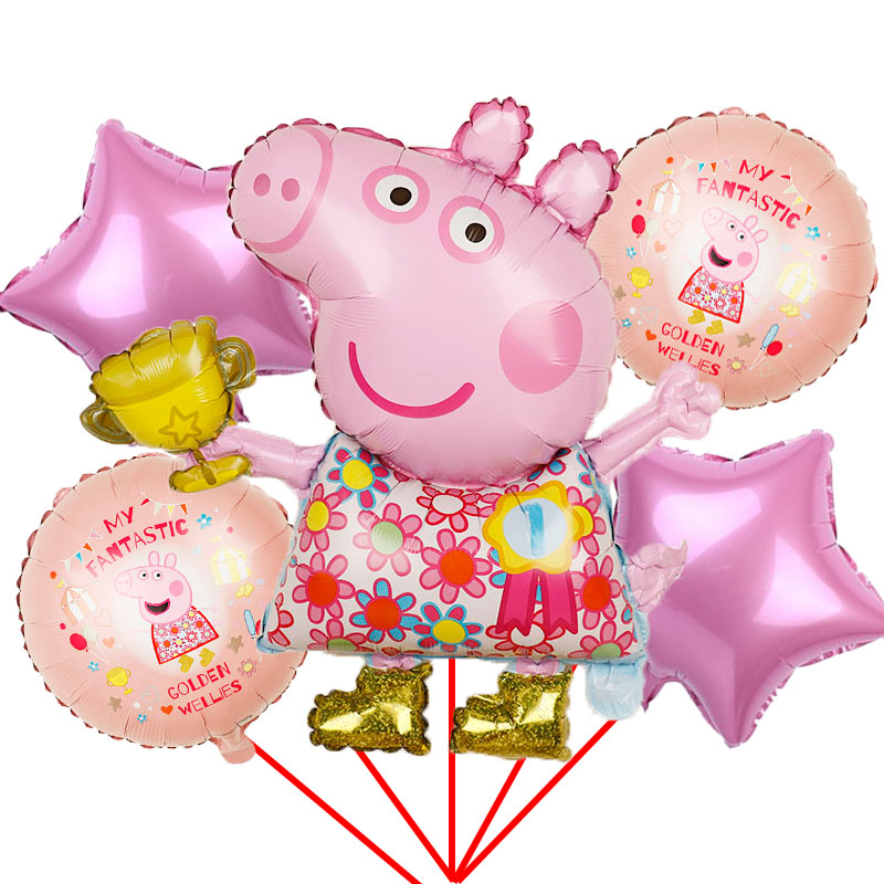 12 Pink Peppa Pig Latex Balloon Peppa George Foil Birthday Party Decoration