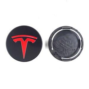 Image 4 - Dla TESLA MODEL X S 3 car styling XWC1385 01 akcesoria samochodowe 56MM 58MM odznaka osłona środkowa ozdobna pokrywka