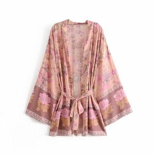 Image 5 - Robe dété Boho, Vintage, à ceinture imprimé floral, manches chauve souris, kimono bohémien, col en V, à glands, robe de plage