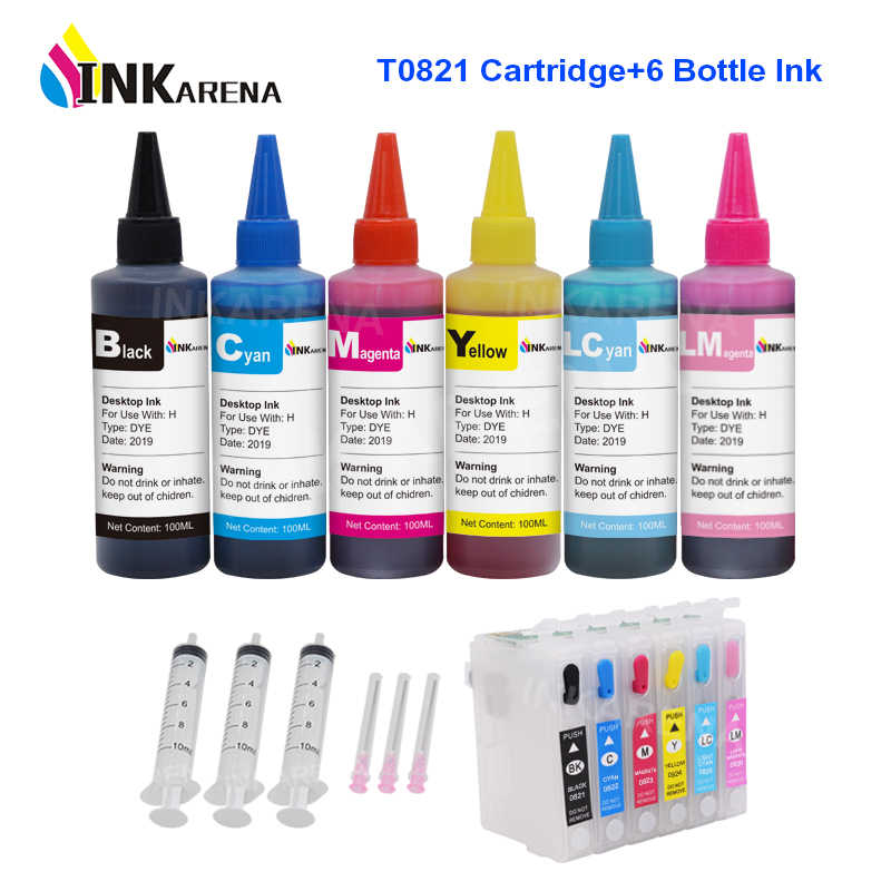 Inkarena 100 Ml Tinta Printer Isi Ulang Kit + 82 82N T0821 Tinta untuk EPSON STYLUS PHOTO 1410 T50 R290 r295 R390 RX590 RX610