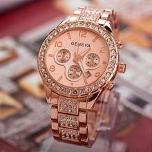 Luxury Crystal Women Watches Women Rose Gold Watches Ladies Watch Geneva relogio feminino horloge dames uhr damen reloj mujer цена в Москве и Питере