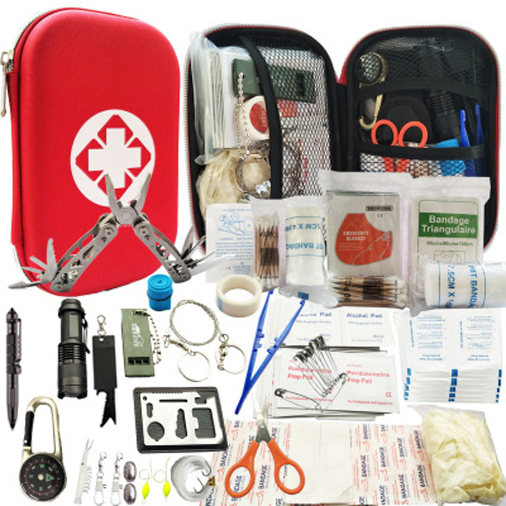 80 in 1 Outdoor survival kit Set Camping Travel Multifunction First aid SOS EDC Emergency Supplies Tactical for Hunting tool(China)