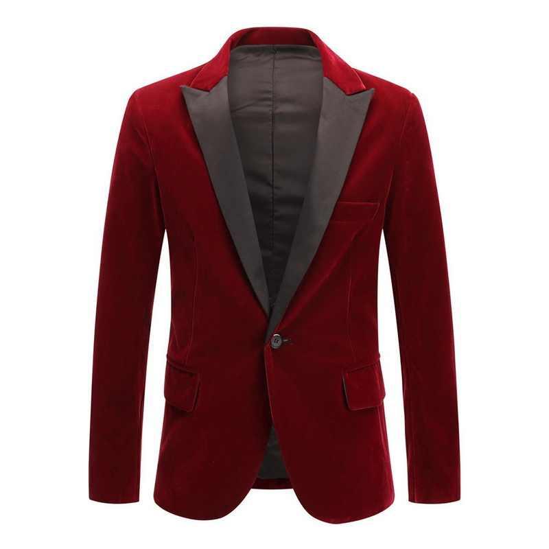 CYSINCOS الرجال أزياء الشتاء الخريف الفاخرة بدلة مخملية معطف جديد الأعمال الزفاف الرسمي حزب صالح سليم التلبيب زر واحد الحلل