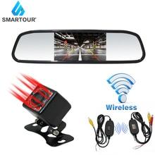 цена на Smartour 4.3 Inch Car Reversing Camera Back Up Car rearview mirror Monitor HD Car Rear View Camera Parking transmitter wireless