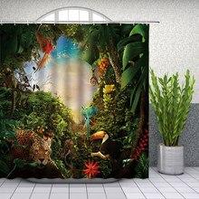 Tropikalny krajobraz dżungli zasłony prysznicowe wystrój łazienki dzikie zwierzę jelenie papuga tukan Leopard Home wanna kurtyna poliestrowa