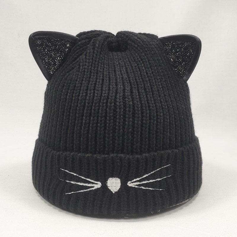 Cat Shaped Sequin Ears Women Beanie Hat Winter Fleece Inside Warm Knitted Cap Black Grey Red Pink Yellow Beige